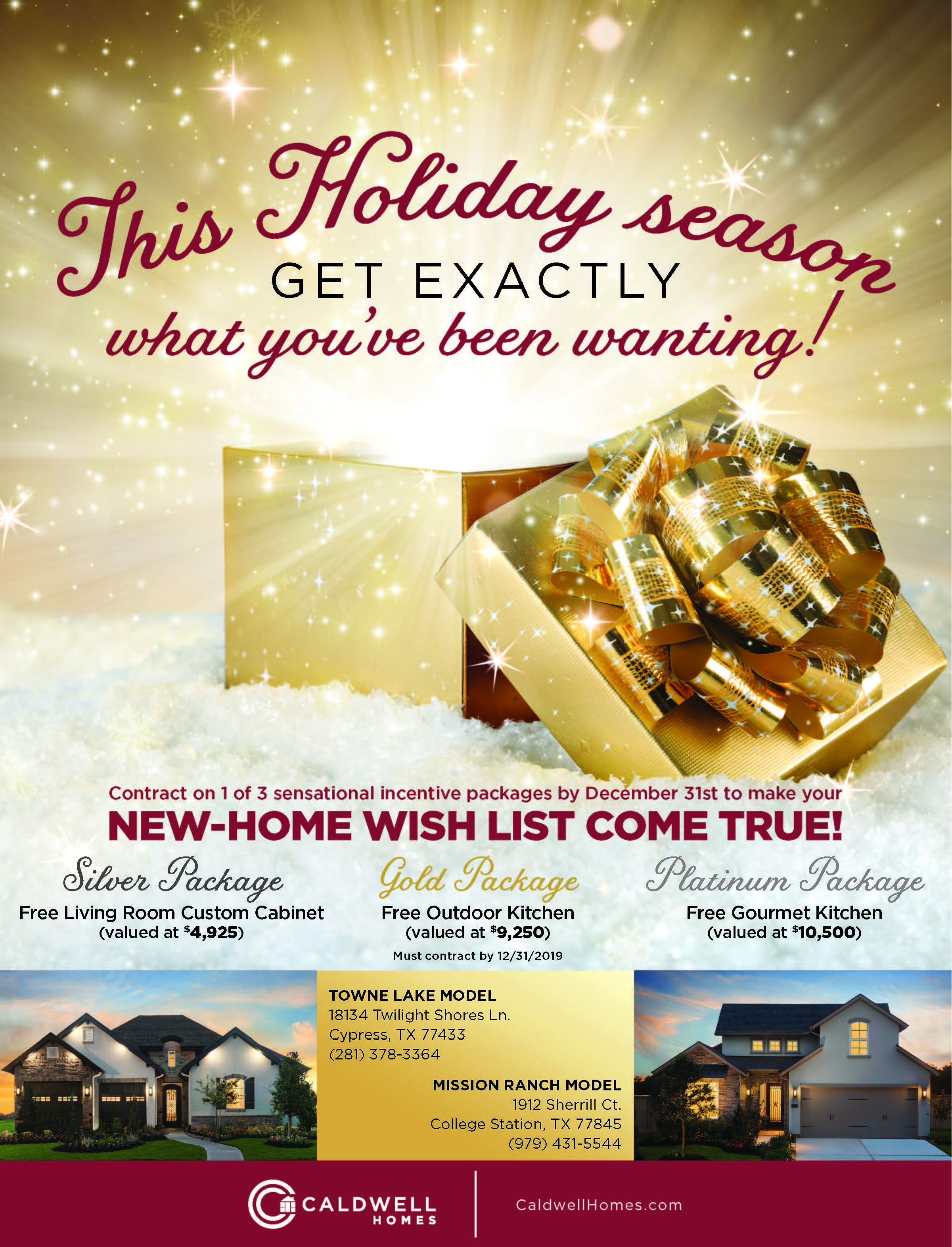 Caldwell Homes December 2019 Incentive